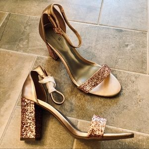 Worthington Beckwith Rose Gold Glitter Heels